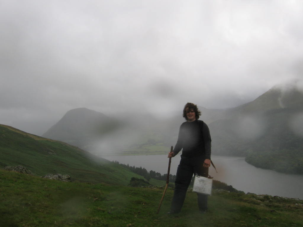 Richard in heavy rain lake district