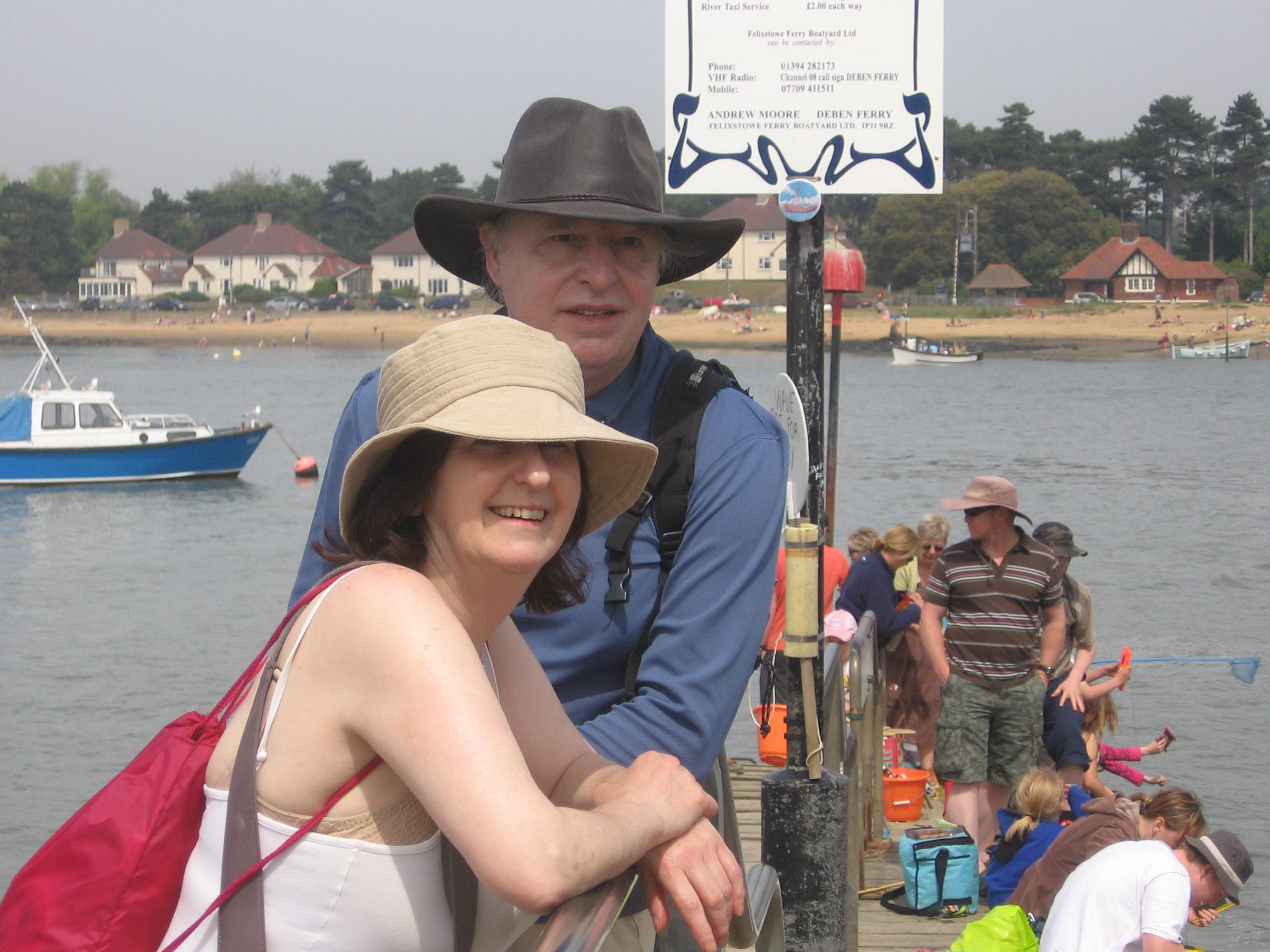 Richard with Jane on ferry at Deben in East Anglia